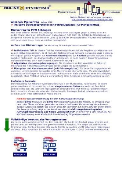 Mietvertrag für PKW Anhänger mit ... - onlineMietvertrag