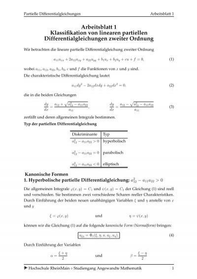 Arbeitsblatt 1 Klassifikation von linearen partiellen ...