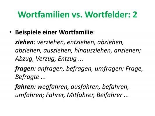 wortfamilien - Wortfelder Beispiele