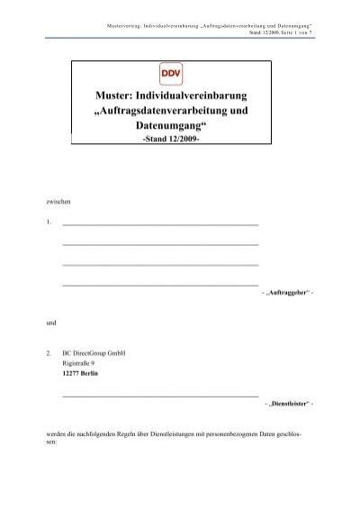 Muster Individualvereinbarung Bc Directgroup Gmbh