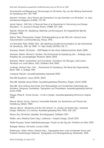 Ren spitz bibliographi for Hfg ulm produkte