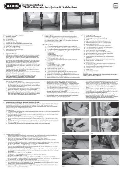montageanleitung sts600 deutsch pdf abus sts 600. Black Bedroom Furniture Sets. Home Design Ideas