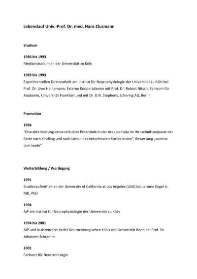 Lebenslauf Univ Prof Dr Med Hans Clusmann