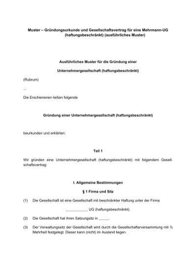 grndungsurkunde und gesellschaftsvertrag fr eine mehrmann ug - Kostenausgleichsantrag Muster