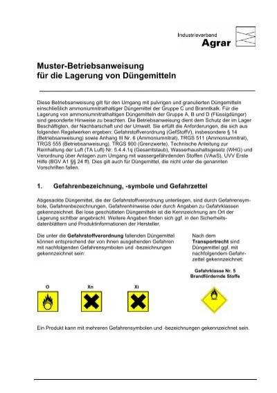 muster betriebsanweisung fr die lagerung von dngemitteln - Muster Betriebsanweisung