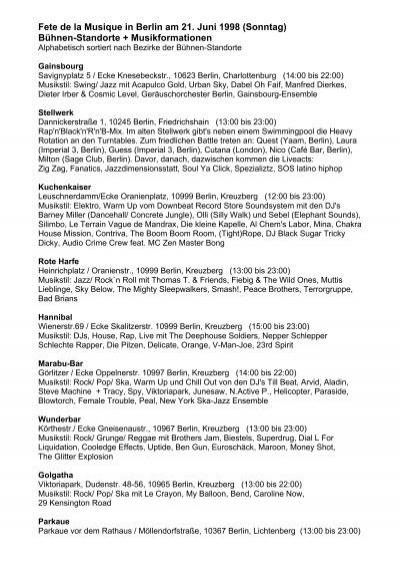Programm 1998 Fête De La Musique