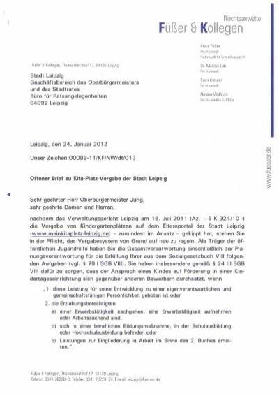 Forderungsbrief an OBM Jung - RAe Füßer und Kollegen