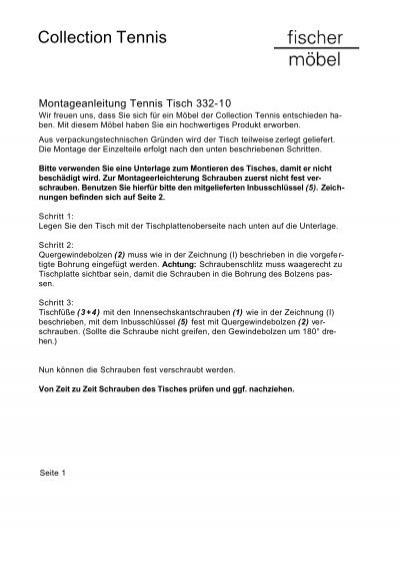Tennis Tisch 332 10 Montageanleitung Fischer Möbel