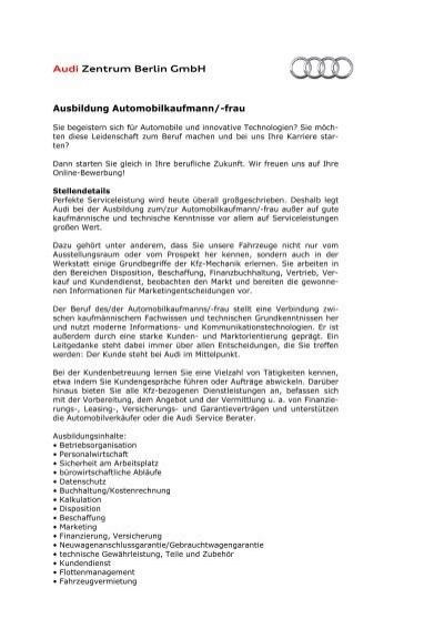 ausbildung automobilkaufmann azb 2010 audi - Bewerbung Ausbildung Automobilkaufmann