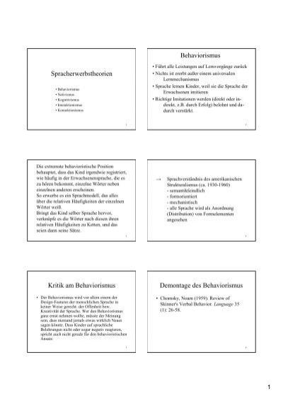 Spracherwerbstheorien Behaviorismus Kritik Am Uk Online