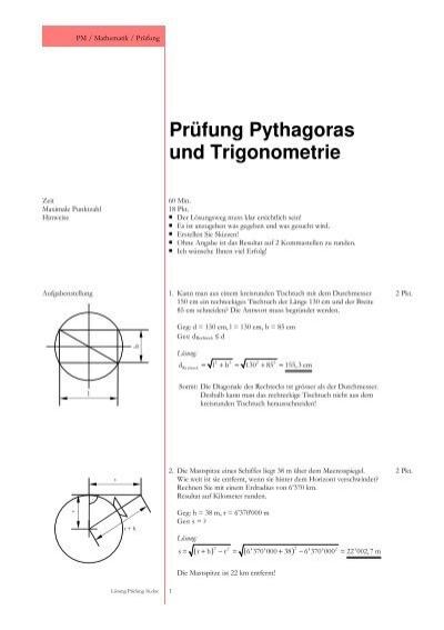 Pythagoras und Trigonometrie