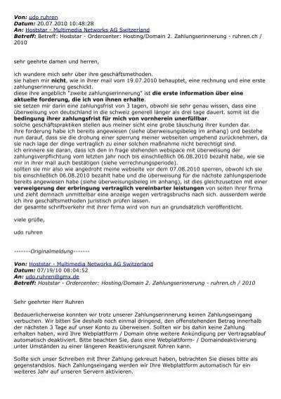 Antwort Auf Angedrohte Seitensperrung 20072010 Venoz