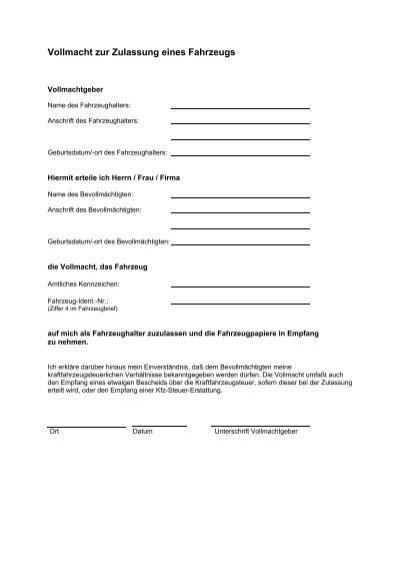 Antrag Und Vollmacht Zulassung Eines Fahrzeugs