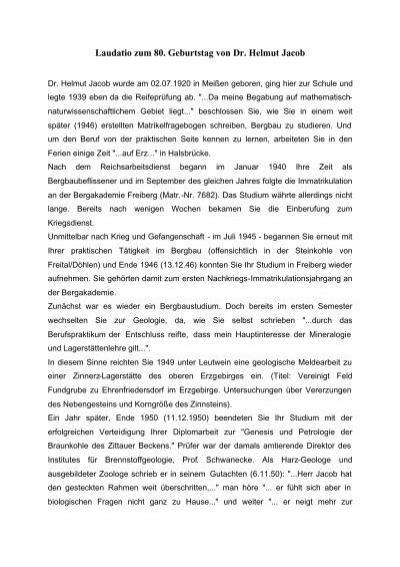 Laudatio Zum 80 Geburtstag Von Dr Helmut Jacob
