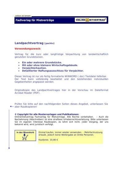 Landpachtvertrag Pachtvertrag für ... - onlineMietvertrag