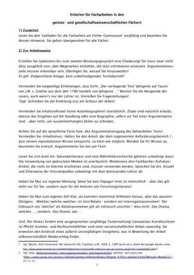 Kriterien Für Facharbeiten In Den Geistes Fichte Gymnasium Hagen