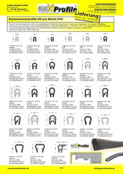 kantenschutzprofile ks aus weich pvc gummi bender gmbh. Black Bedroom Furniture Sets. Home Design Ideas