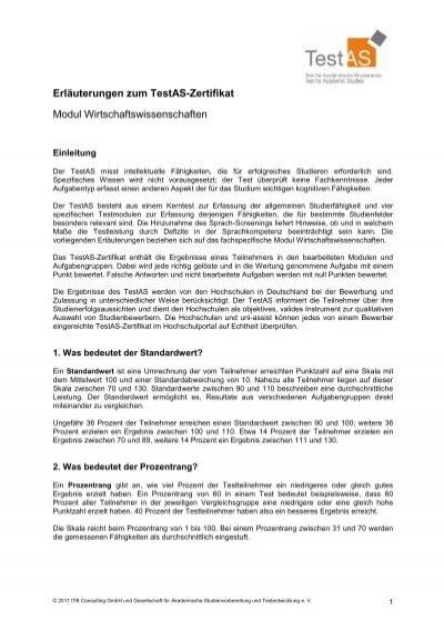 Erläuterungen zum TestAS-Zertifikat