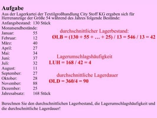 Lagerumschlagshäufigkeit Berechnen : aufgabe aus der lagerkart ~ Themetempest.com Abrechnung