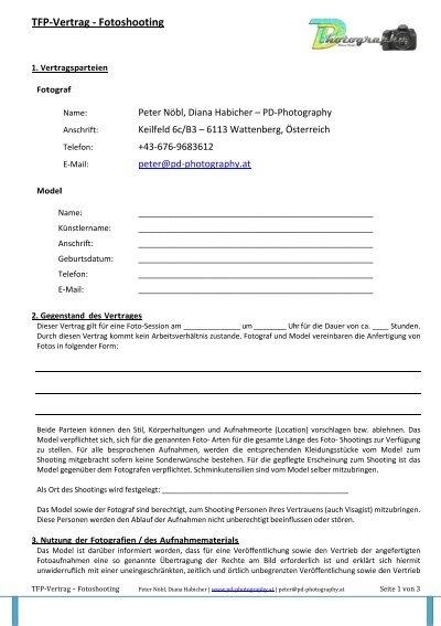 tfp vertrag fotoshooting pd photography - Tfp Vertrag Muster