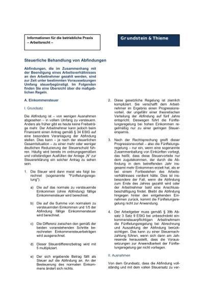 Steuerliche Behandlung Von Abfindungen Grundstein Thieme