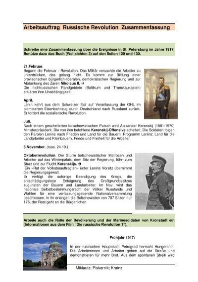 Arbeitsauftrag Russische Revolution Zusammenfassung