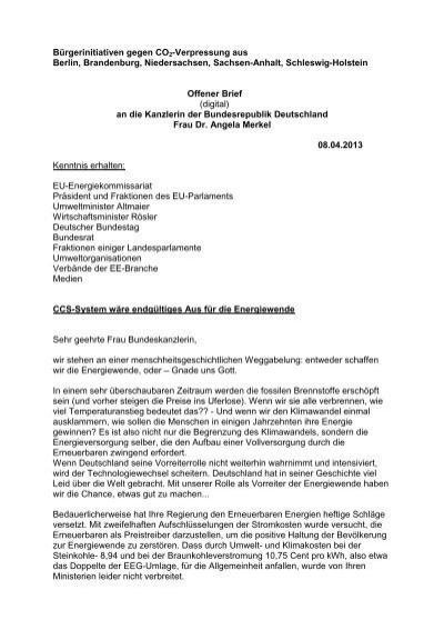 Offener Brief An Die Kanzlerin Der Bundesrepublik Deutschland Frau