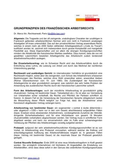 Grundprinzipien Des Französischen Arbeitsrechts Osec