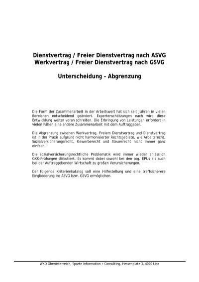 Dienstvertrag Freier Dienstvertrag Nach Asvg