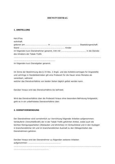Muster für einen Dienstvertrag