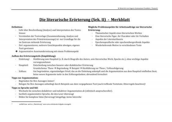 Die Literarische Erörterung Merkblatt Heinrich Von Gagern