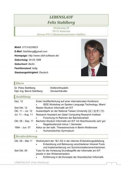 lebenslauf felix stahlberg felix stahlbergs homepage - Staatsangehorigkeit Im Lebenslauf