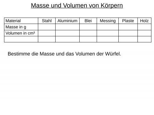 Masse und Volumen von Körpern - bei Schlaefendorf.de