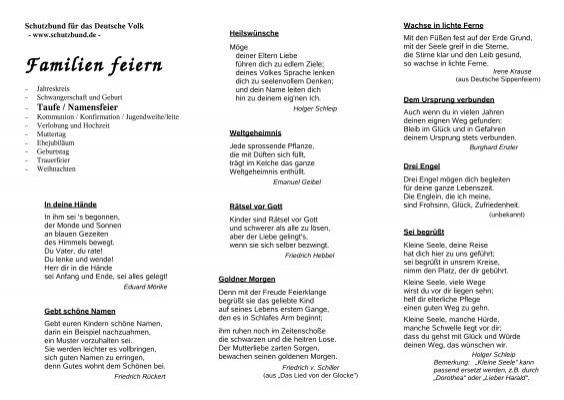 Taufe Namensfeier Schutzbund Für Das Deutsche Volk