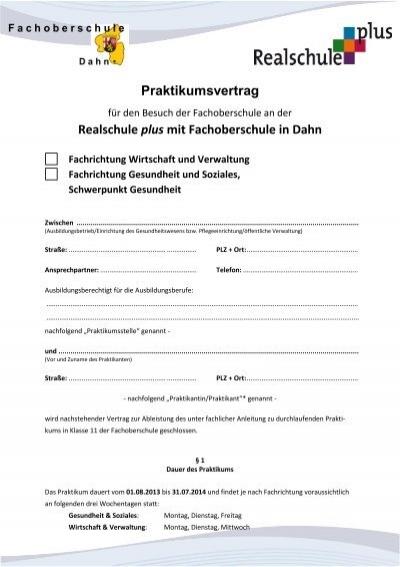 Muster Praktikumsvertrag Fachmatura Gesundheit Kantonsschule