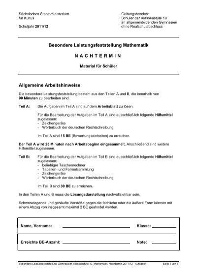 Besondere Leistungsfeststellung Mathematik NACHTERMIN Allgemeine ...