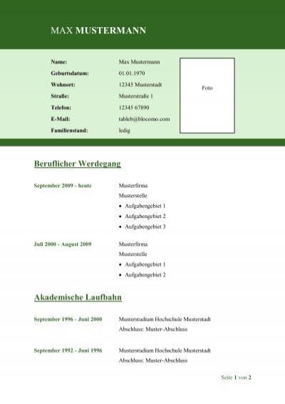pdf vorschau tabellarischer lebenslauf - Tabellarischer Lebenslauf Pdf
