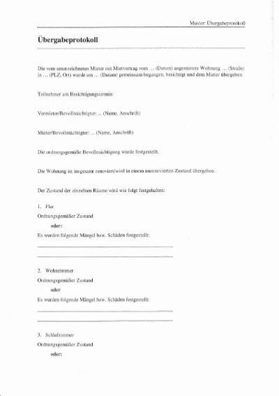 muster bergabeprotokoll - Ubergabeprotokoll Muster Gegenstande