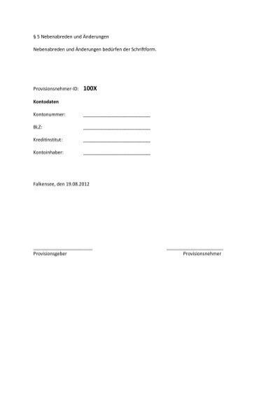 5 nebenabreden und n - Provisionsvereinbarung Muster