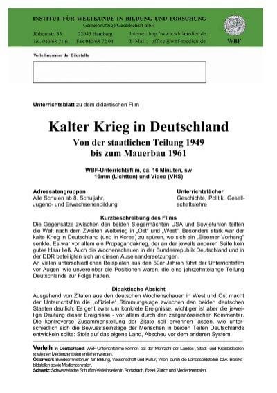 Kalter Krieg In Deutschland Von Der Staatlichen Teilung 1949
