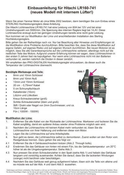 Einbauanleitung Für Hitachi LR160-741 - Sterling Power Products