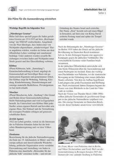Arbeitsblatt Rex 13 Seite 1 Die Pläne für die Auswanderung entstehen