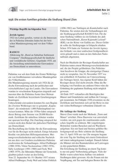Arbeitsblatt Rex 14 Seite 1 1938: Die ersten Familien gründen die ...