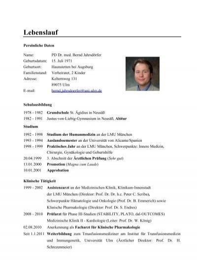 Lebenslauf PD Dr. Jahrsdörfer 7/2011