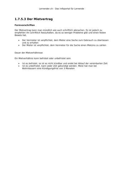 1753 Der Mietvertrag Lernenderch