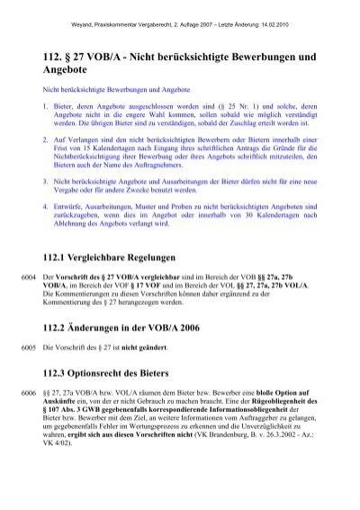 112 27 Voba Nicht Berücksichtigte Bewerbungen Und Angebote