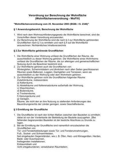Info Wohnflächenverordnung   HD WERT