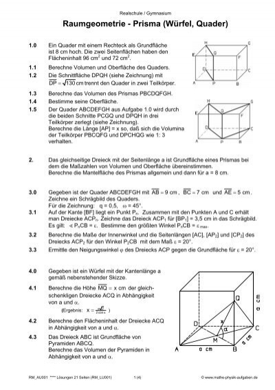 Raumgeometrie - Prisma (Würfel, Quader) - Mathe-Physik-Aufgaben