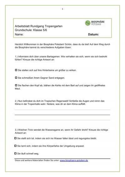 Arbeitsblätter Klassen 5 und 6 - Biosphäre
