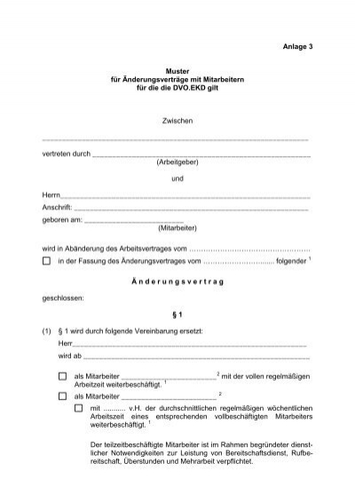muster nderungsvertrag dvoekd mnnlich - Anderung Arbeitsvertrag Muster
